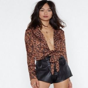 Nasty Gal Print Plunging Leopard Blouse